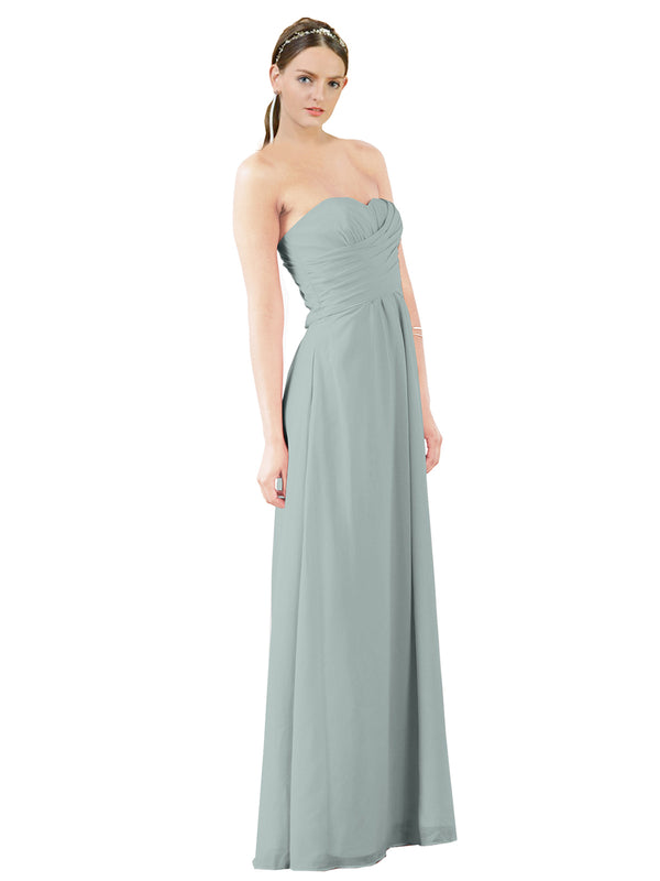 Mila Gowns Sophia Long A-Line Strapless Sweetheart Chiffon Seaside Bridesmaid Dress Floor Length Sleeveless 174022