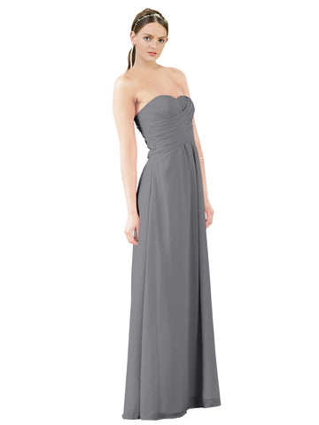 Mila Gowns Sophia Long A-Line Strapless Sweetheart Chiffon Slate Grey Bridesmaid Dress Floor Length Sleeveless 174022