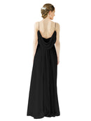 Mila Gowns Victoria Long A-Line Spaghetti straps Chiffon Black Bridesmaid Dress Floor Length Open Back Sleeveless 174035
