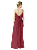 Mila Gowns Victoria Long A-Line Spaghetti straps Chiffon Burgundy Bridesmaid Dress Floor Length Open Back Sleeveless 174035
