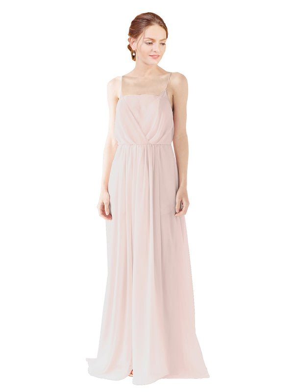 Mila Gowns Victoria Long A-Line Spaghetti straps Chiffon Champagne 42 Bridesmaid Dress Floor Length Open Back Sleeveless 174035