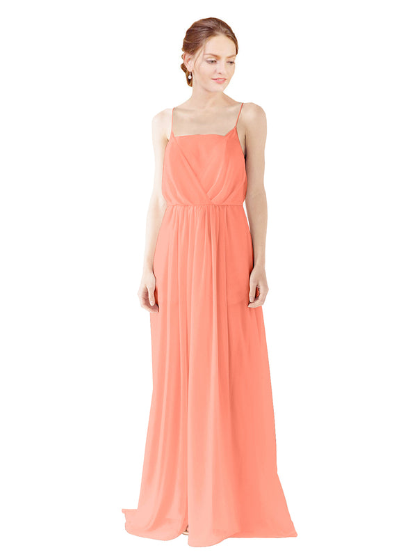 Mila Gowns Victoria Long A-Line Spaghetti straps Chiffon Coral Bridesmaid Dress Floor Length Open Back Sleeveless 174035