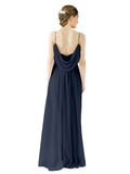 Mila Gowns Victoria Long A-Line Spaghetti straps Chiffon Dark Navy Bridesmaid Dress Floor Length Open Back Sleeveless 174035