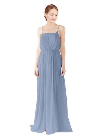 Mila Gowns Victoria Long A-Line Spaghetti straps Chiffon Dusty Blue Bridesmaid Dress Floor Length Open Back Sleeveless 174035