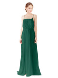 Mila Gowns Victoria Long A-Line Spaghetti straps Chiffon Ever Green Bridesmaid Dress Floor Length Open Back Sleeveless 174035