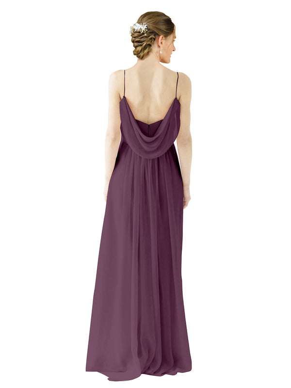 Mila Gowns Victoria Long A-Line Spaghetti straps Chiffon Grape Bridesmaid Dress Floor Length Open Back Sleeveless 174035