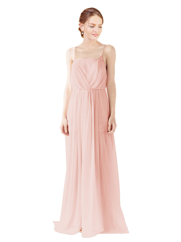 Mila Gowns Victoria Long A-Line Spaghetti straps Chiffon Ice Pink Bridesmaid Dress Floor Length Open Back Sleeveless 174035