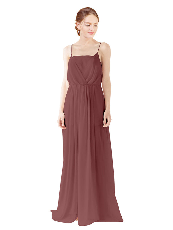 Mila Gowns Victoria Long A-Line Spaghetti straps Chiffon Marsala Bridesmaid Dress Floor Length Open Back Sleeveless 174035