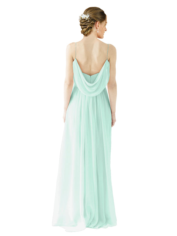 Mila Gowns Victoria Long A-Line Spaghetti straps Chiffon Mint Green Bridesmaid Dress Floor Length Open Back Sleeveless 174035