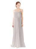 Mila Gowns Victoria Long A-Line Spaghetti straps Chiffon Oyster Silver Bridesmaid Dress Floor Length Open Back Sleeveless 174035