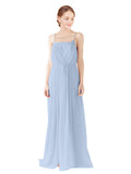 Mila Gowns Victoria Long A-Line Spaghetti straps Chiffon Periwinkle Bridesmaid Dress Floor Length Open Back Sleeveless 174035