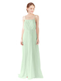 Mila Gowns Victoria Long A-Line Spaghetti straps Chiffon Sage Bridesmaid Dress Floor Length Open Back Sleeveless 174035