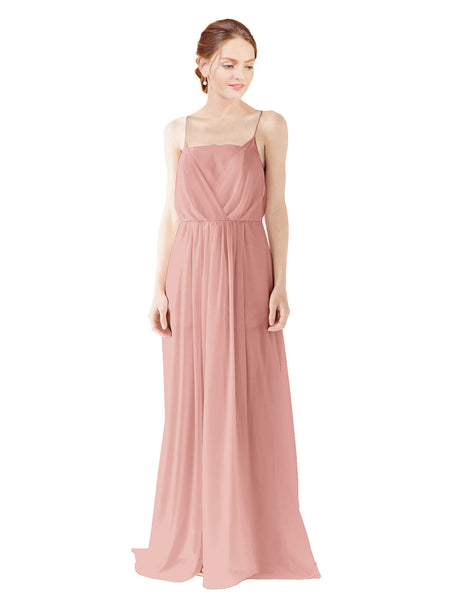 Mila Gowns Victoria Long A-Line Spaghetti straps Chiffon Salmon Bridesmaid Dress Floor Length Open Back Sleeveless 174035