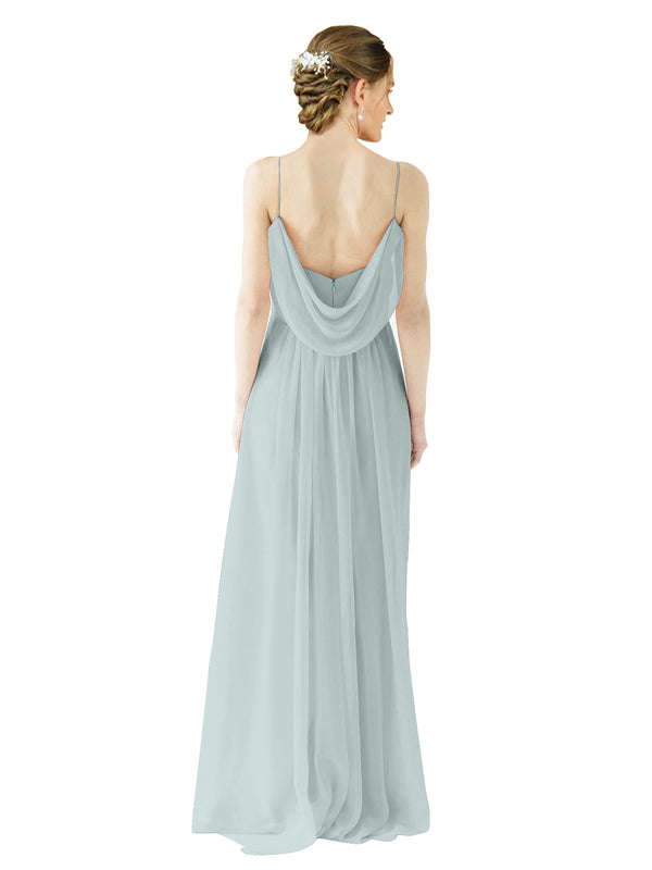 Mila Gowns Victoria Long A-Line Spaghetti straps Chiffon Seaside Bridesmaid Dress Floor Length Open Back Sleeveless 174035