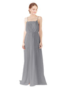 Mila Gowns Victoria Long A-Line Spaghetti straps Chiffon Slate Grey Bridesmaid Dress Floor Length Open Back Sleeveless 174035