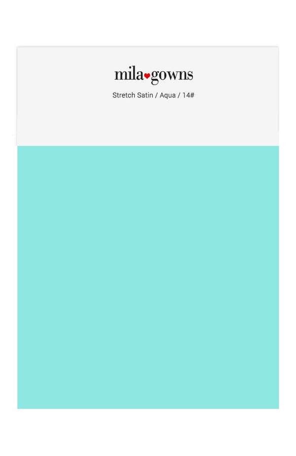 Mila Gowns Strech Satin Color Swatches - Aqua