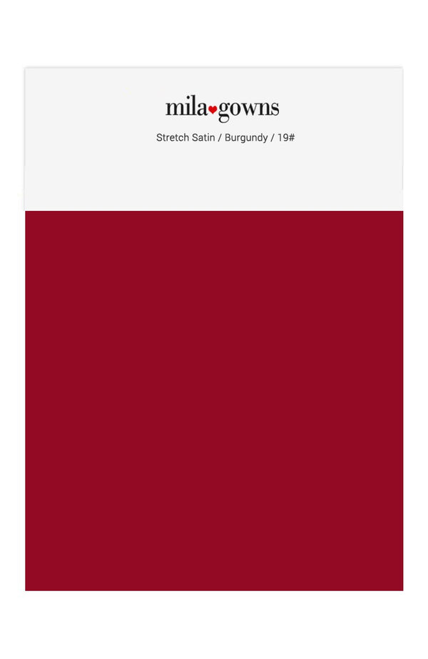 Mila Gowns Strech Satin Color Swatches - Burgundy