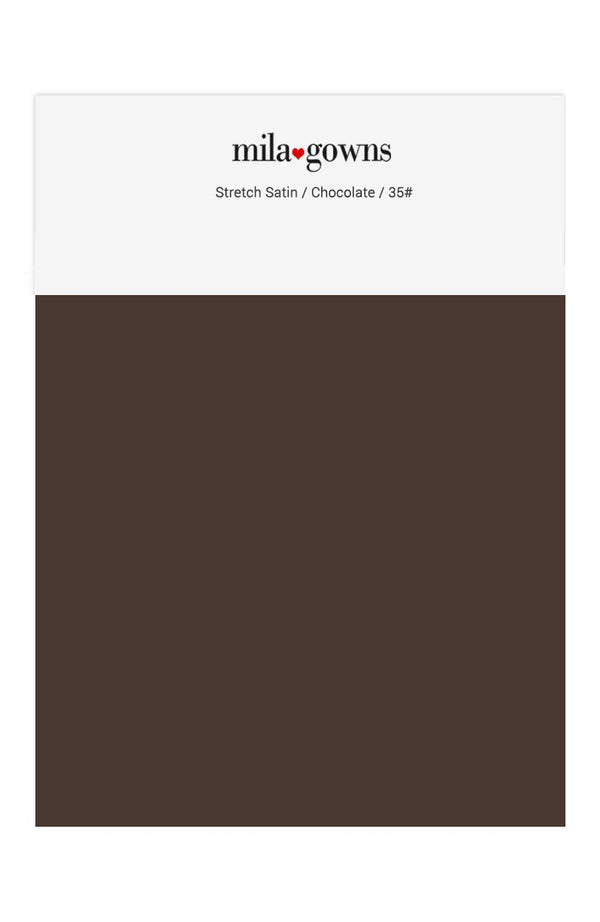 Mila Gowns Strech Satin Color Swatches - Chocolate