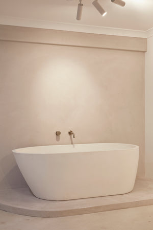 White oasis bathtub in showroom