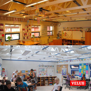 Classroom with pitched roof skylights