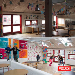Preschool with multiple Velux skylights installed