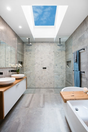 Solar skylight in bathroom