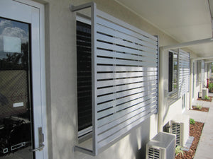 Surfmist white privacy slats motel rooms