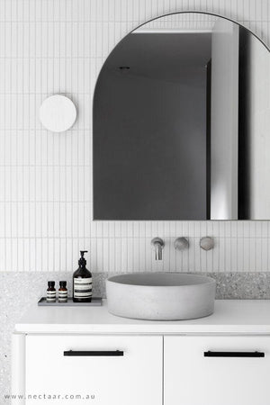 Grey Halo basin on white vanity