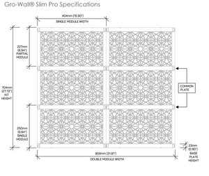 The specs and measurements of the gro wall slim pro