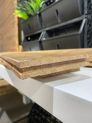 Groove end of T&G recycled timber planks