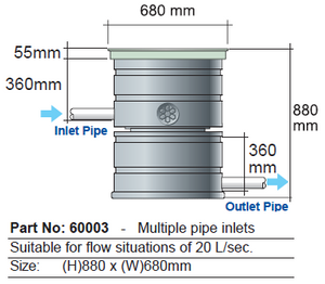 Filtration unit diagram with measurements