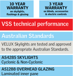 Warranty table for Velux products