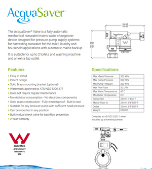 20mm AcquaSaver valve spec sheet