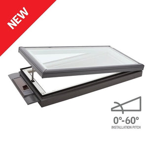 Flat roof solar powered skylight