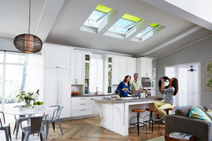 3 Velux skylights flat roof kitchen area