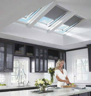 Velux manual skylight with blinds in kitchen