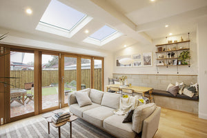 Large Velux skylights in lounge room