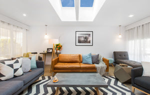 Side by side Velux skylights in living area