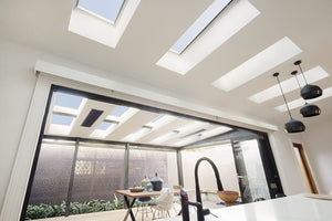 Flat roof skylights in kitchen / patio area