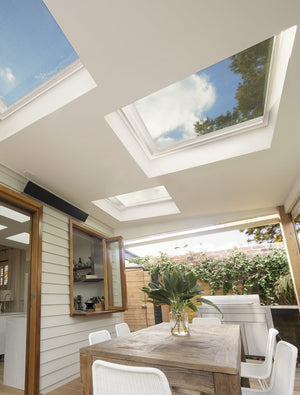 Large roof windows in patio ceiling