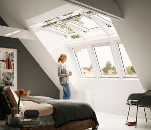 Velux Centre-pivot roof windows aligned