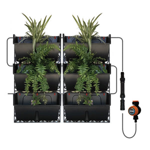 A illustration of the gro wall slim line design with plants and install of the timed irrigation system