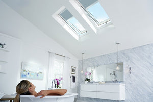 Skylights with blinds installed in bathroom