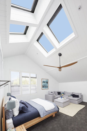 Bedroom with 4 Velux fixed skylights