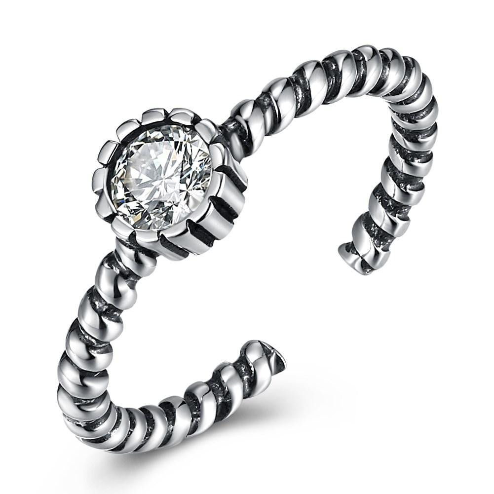 Sterling Silver Twisted Rope Adjustable Ring - Bysah