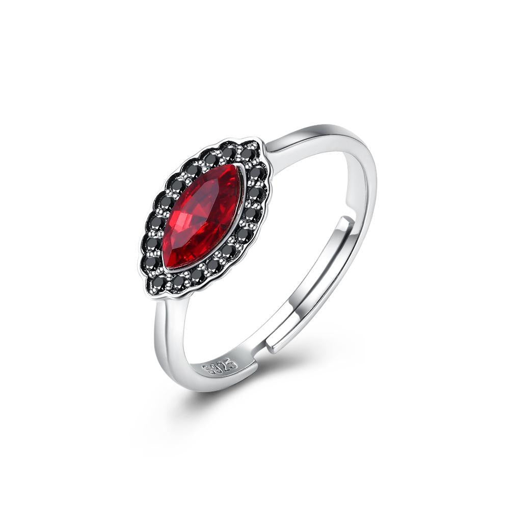 Sterling Silver Red Gem Adjustable Ring - Bysah