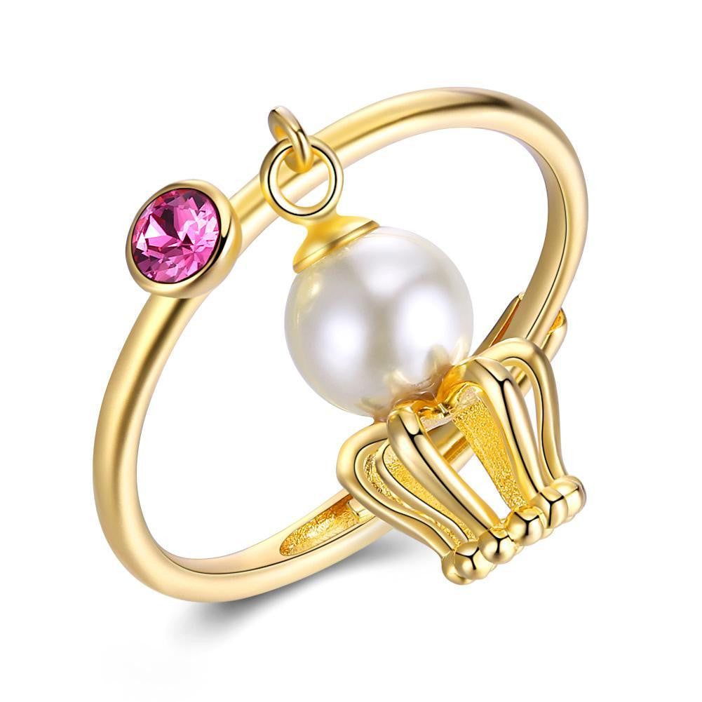 Sterling Silver Dangling Pearl Ring - Bysah