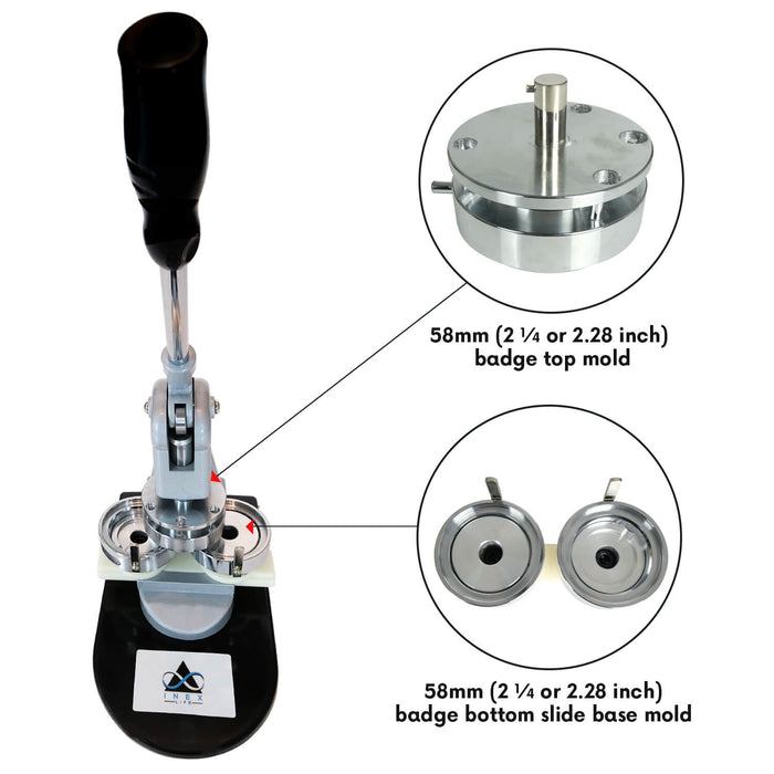BUTTON MAKER BADGE MAKING MACHINE KIT - 58MM 2 ¼ INCH 2.28 INCH