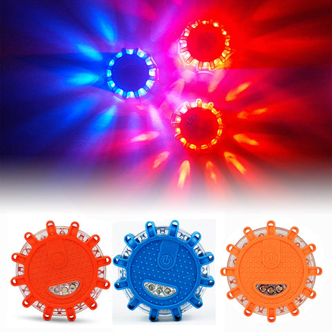 LED Emergency Car Lights Road Flares Warning Night Lights - Roadside Disc Beacon | Red, Blue, Led Police road Led Light