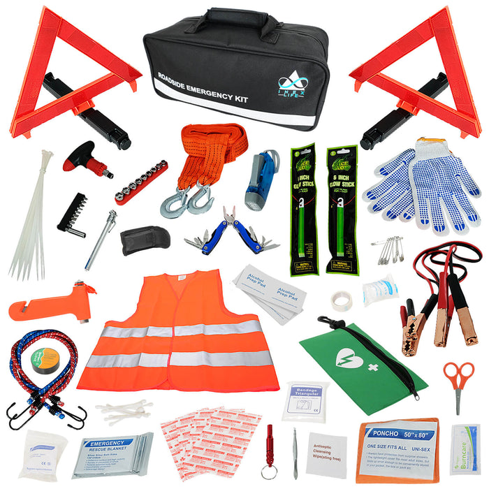ROADSIDE ASSISTANCE AUTO EMERGENCY KIT + FIRST AID KIT (BLACK or PURPLE)